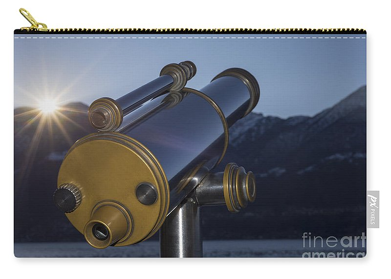 Telescope Carry-all Pouch featuring the photograph Telescope And Sunrise by Mats Silvan