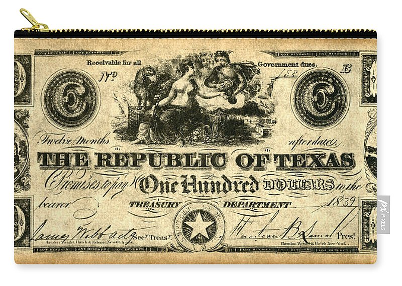 100 Carry-all Pouch featuring the painting Texas Banknote, 1839 by Granger