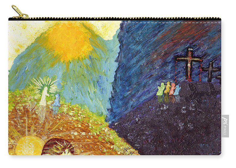 Resurrection Carry-all Pouch featuring the painting Thank God For Good Friday And Easter Sunday by Carl Deaville