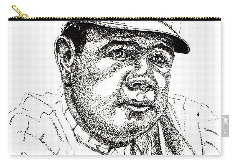 Babe Ruth Carry-all Pouch featuring the drawing The Babe by Cory Still