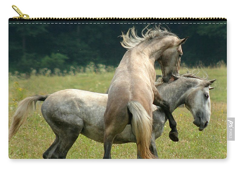 Horse Carry-all Pouch featuring the photograph The Bite by Angel Ciesniarska