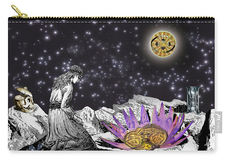 Young Woman Carry-all Pouch featuring the digital art The Clock's Petals Open by Lisa Yount
