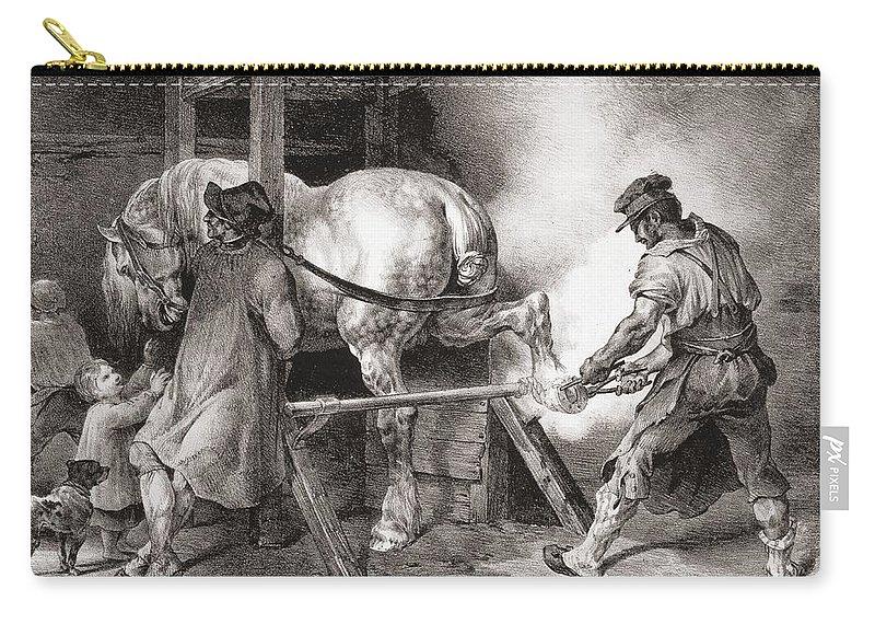 Etudes De Cheveaux Carry-all Pouch featuring the drawing The Farrier, From Etudes De Cheveaux by Theodore Gericault