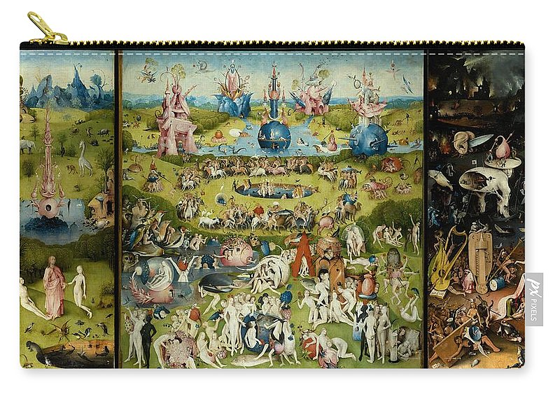 Hieronymus Bosch Carry-all Pouch featuring the painting The Garden Of Earthly Delights by Hieronymus Bosch