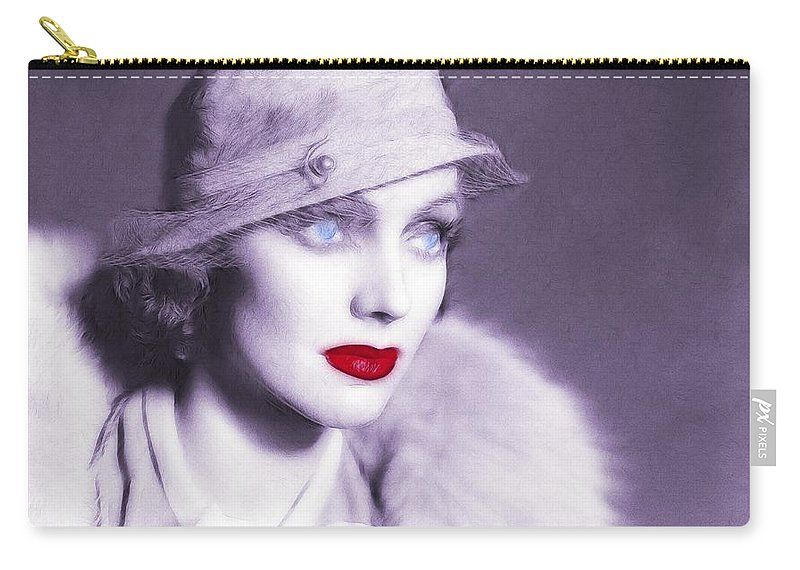 20s 30s Vintage America Golden Times Woman Female Lady Flapper Red Lips Blue Eyes Carry-all Pouch featuring the painting The Look Of Love by Steve K