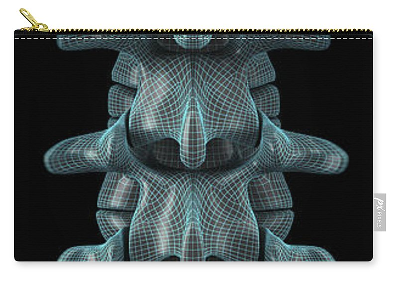 Lumbar Vertebrae Carry-all Pouch featuring the photograph The Lumbar Vertebrae Wireframe by Science Picture Co