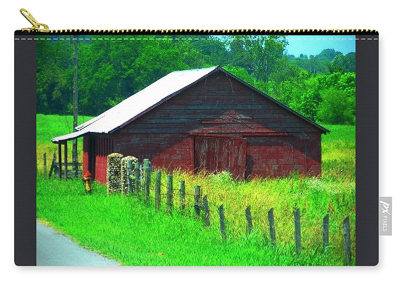 Landscape Carry-all Pouch featuring the photograph The Red Barn by Kathy R Thomas