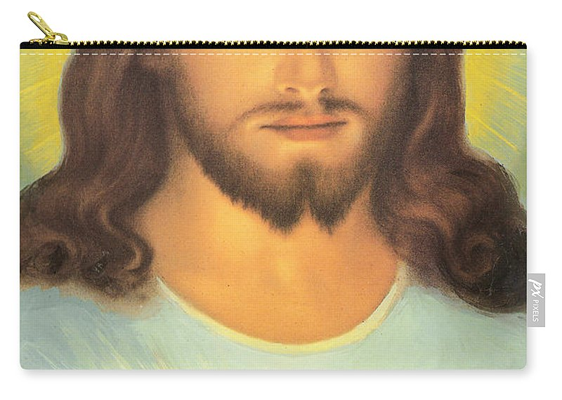 Sacred Carry-all Pouch featuring the painting The Sacred Heart Of Jesus by French School