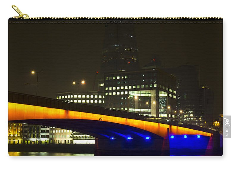 Shard Carry-all Pouch featuring the photograph The Shard And London Bridge by David Pyatt