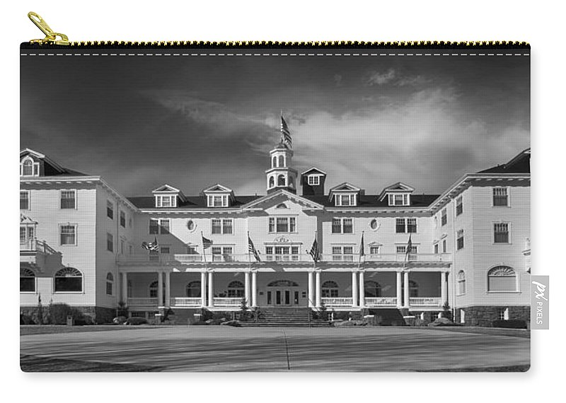 Stanley Hotel Carry-all Pouch featuring the photograph The Stanley Hotel Panorama Bw by James BO Insogna