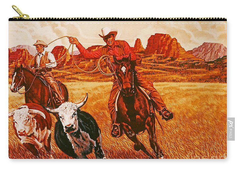 Animals Carry-all Pouch featuring the painting The Wranglers by Dick Bobnick