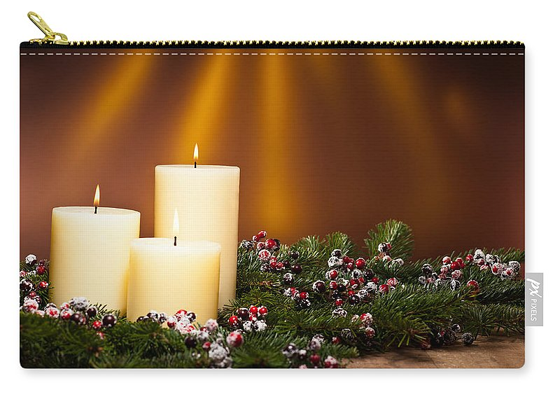 Holly Carry-all Pouch featuring the photograph Three Candles In An Advent Flower Arrangement by U Schade