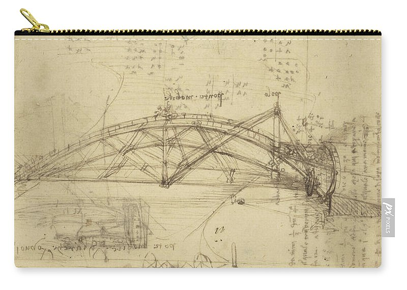 Leonardo Carry-all Pouch featuring the drawing Three Kinds Of Movable Bridge by Leonardo Da Vinci