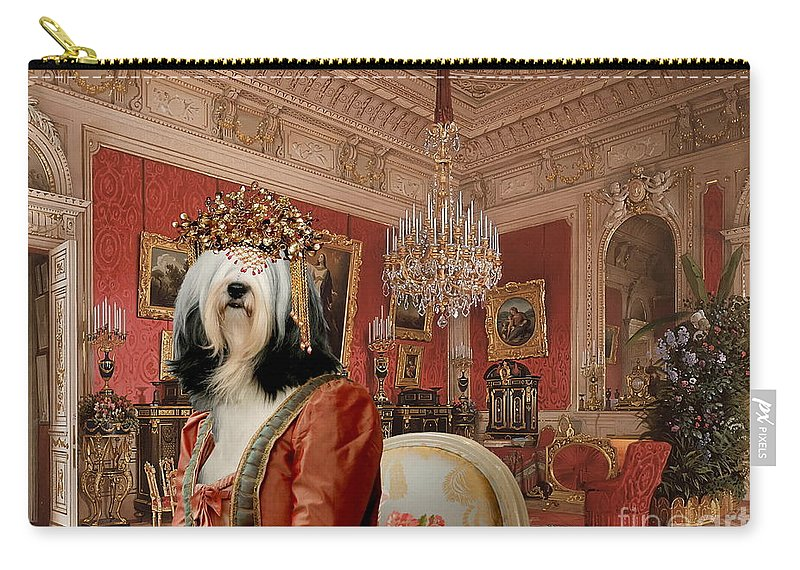 Tibetan Terrier Carry-all Pouch featuring the painting Tibetan Terrier Art Canvas Print by Sandra Sij