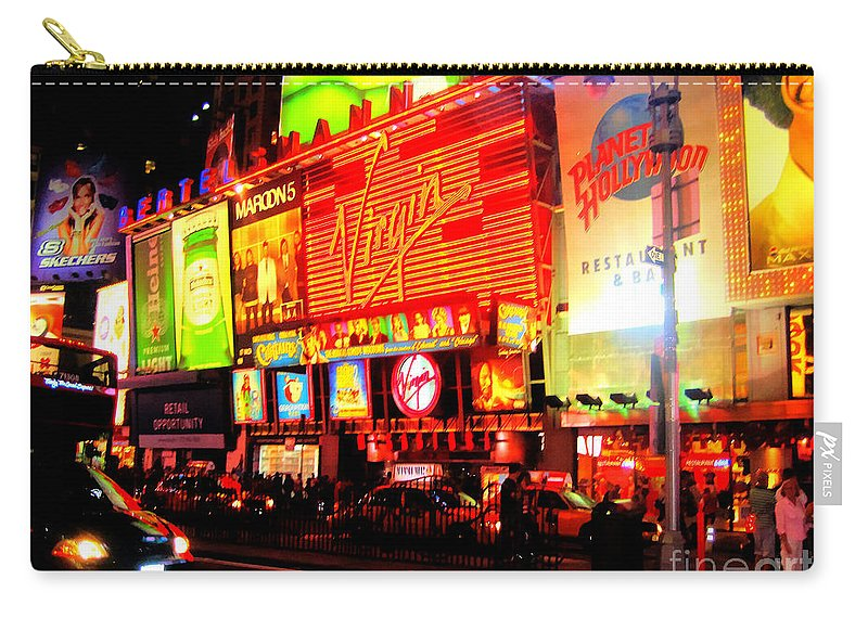 Times Square Carry-all Pouch featuring the photograph Times Square - New York by Doc Braham