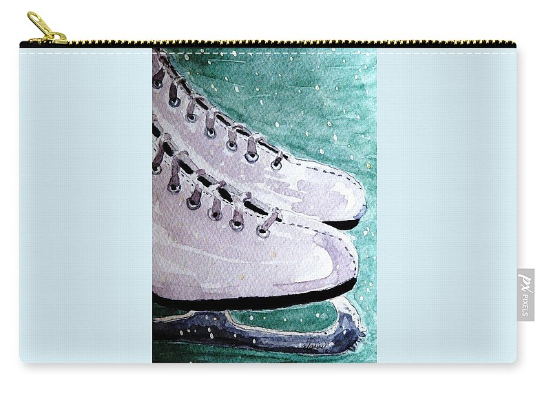 Ice Skates Carry-all Pouch featuring the painting To Skate by Angela Davies