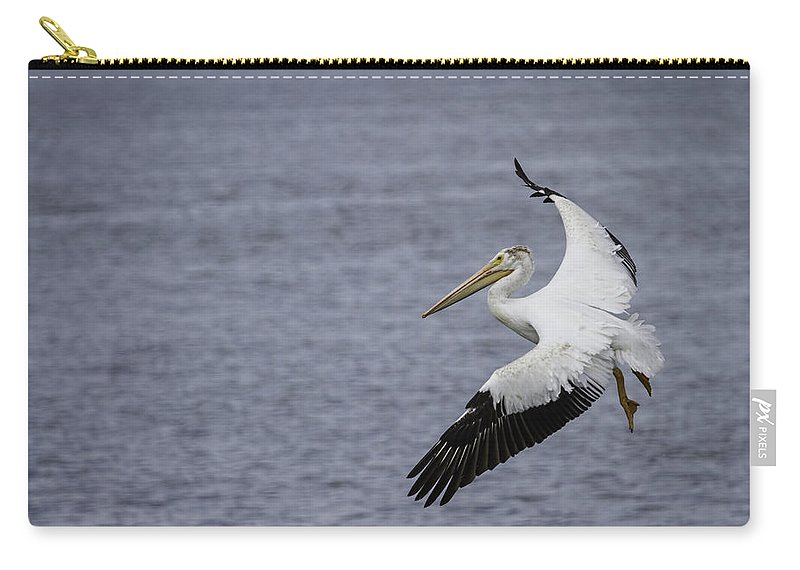 White Pelican Carry-all Pouch featuring the photograph Touching Down by Thomas Young