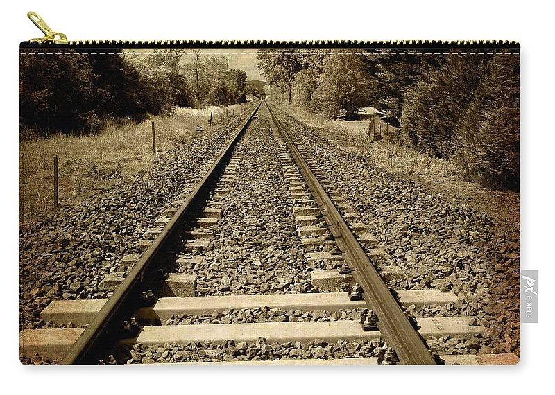Auto Post Production Filter Carry-all Pouch featuring the photograph Train Tracks by Bernard Jaubert