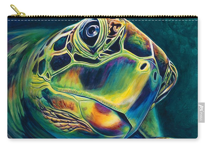 Sea Turtle Paintings Carry-all Pouch featuring the painting Tranquility by Scott Spillman