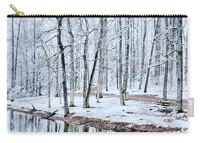 Tree Line Carry-all Pouch featuring the photograph Tree Line Reflections In Lake During Winter Snow Storm by Alex Grichenko