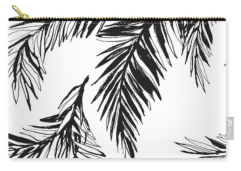 Tropical Rainforest Carry-all Pouch featuring the digital art Tropical Jungle Floral Seamless by Sv sunny