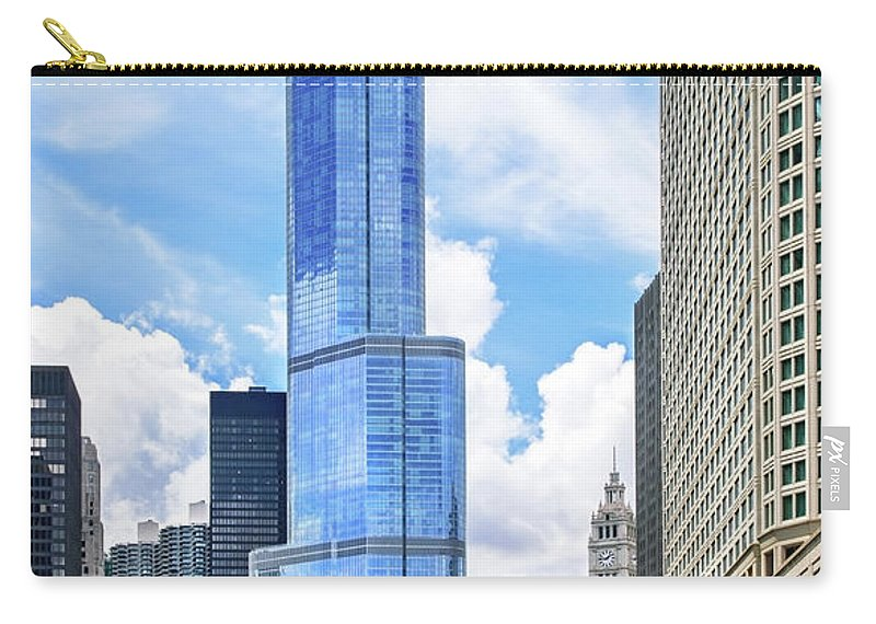 Scenics Carry-all Pouch featuring the photograph Trump Tower In Chicago Illinois by Ghornephoto