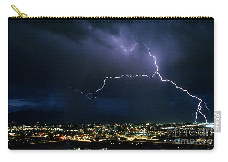 Lightning Carry-all Pouch featuring the photograph Tucson From A Mountain-signed-1990 by J L Woody Wooden