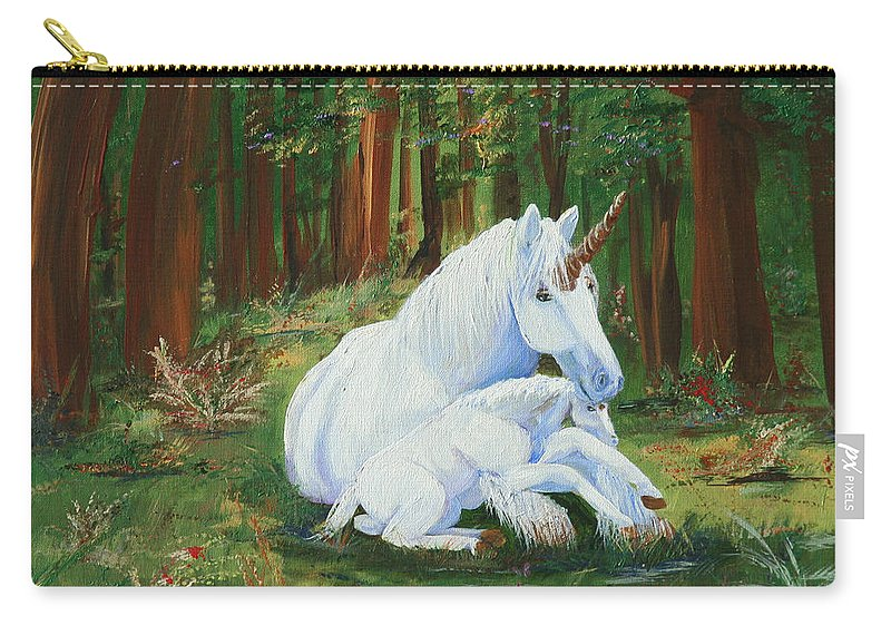 Unicorns Lap Carry-all Pouch featuring the painting Unicorns Lap by Gail Daley
