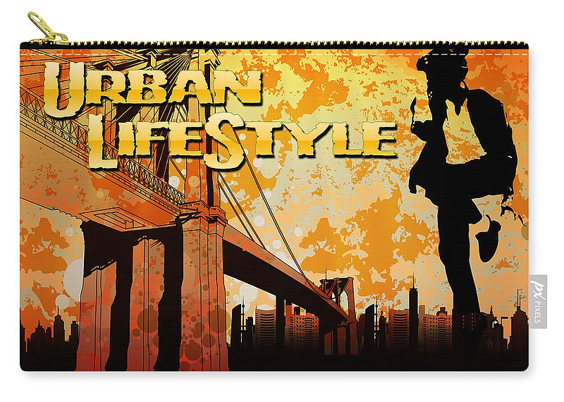 Decoration Carry-all Pouch featuring the digital art Urban Lifestyle by Don Kuing