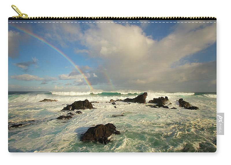 Air Art Carry-all Pouch featuring the photograph Usa, Hawaii, Rainbow Offshore by Ron Dahlquist