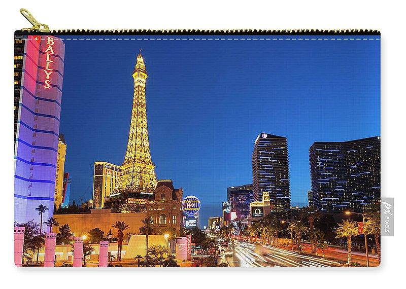 Las Vegas Replica Eiffel Tower Carry-all Pouch featuring the photograph Usa, Nevada, Las Vegas, Paris Las Vegas by Sylvain Sonnet