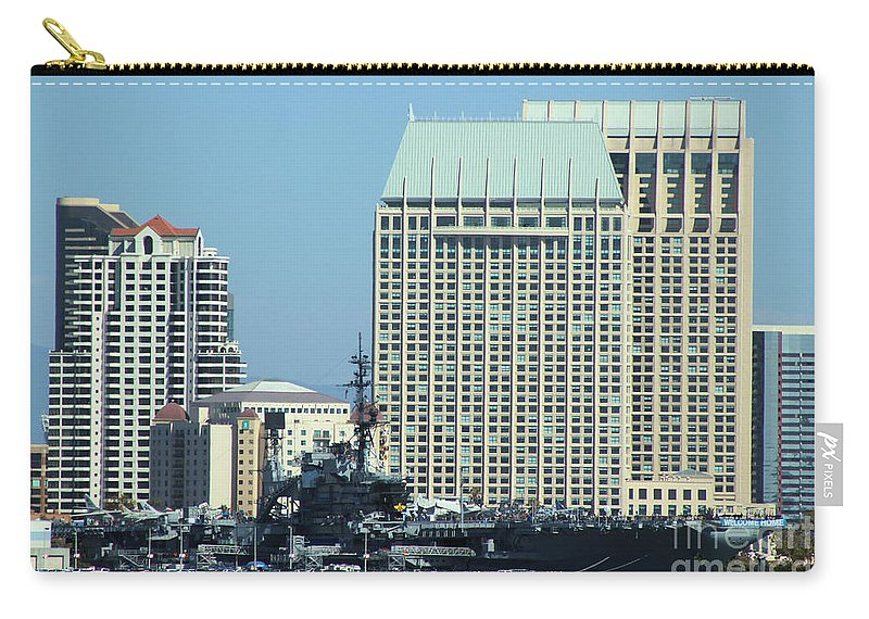 Uss Midway Aircraft Carrier Flagship Carry-all Pouch featuring the photograph Uss Midway by RJ Aguilar