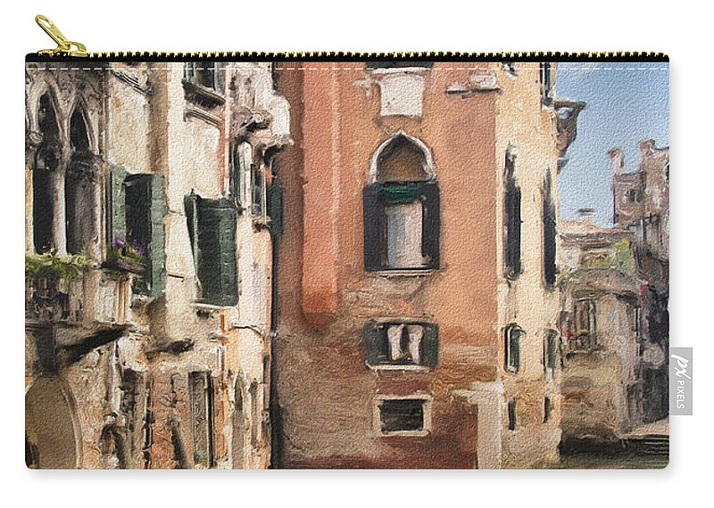 Building Carry-all Pouch featuring the photograph Venetian Windows Impasto by Sharon Foster