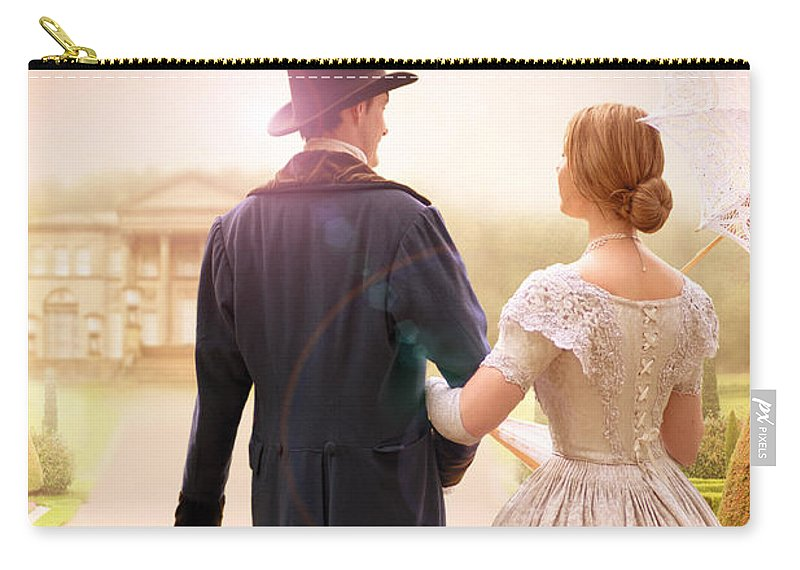 Victorian Carry-all Pouch featuring the photograph Victorian Couple Walking Towards A Country Estate by Lee Avison