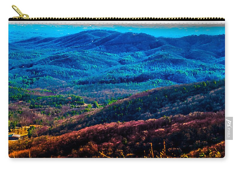 Optical Playground By Mp Ray Carry-all Pouch featuring the photograph View From Table Rock Mountain by Optical Playground By MP Ray