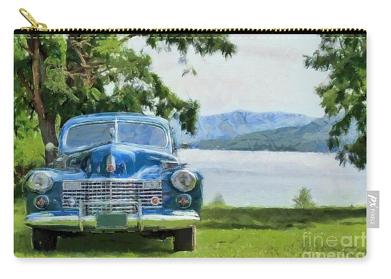 Caddy Carry-all Pouch featuring the photograph Vintage Blue Caddy At Lake George New York by Edward Fielding