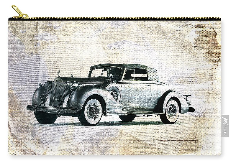 Car Carry-all Pouch featuring the digital art Vintage Car by David Ridley