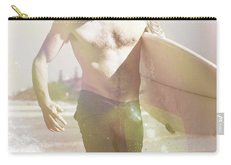 Aussie Carry-all Pouch featuring the photograph Vintage Surfer Running With His Board In Surf by Jorgo Photography - Wall Art Gallery
