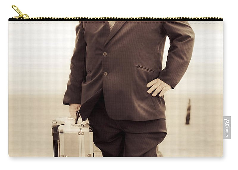 Person Carry-all Pouch featuring the photograph Vintage Traveling Business Man by Jorgo Photography - Wall Art Gallery