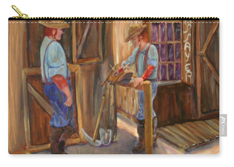 #old West Prints Carry-all Pouch featuring the painting Waiting On The Assay by Gail Daley