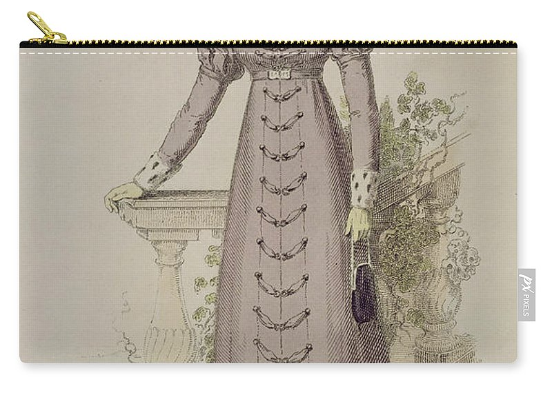 Costume Carry-all Pouch featuring the drawing Walking Dress, Fashion Plate by English School