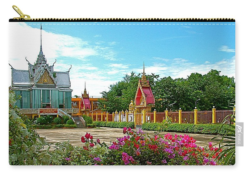 Wat Tha Sung Temple In Uthaithani Carry-all Pouch featuring the photograph Wat Tha Sung Temple In Uthaithani-thailand by Ruth Hager