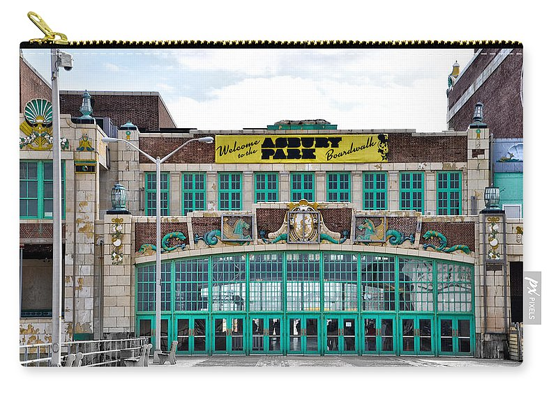 Welcome Carry-all Pouch featuring the photograph Welcome To The Asbury Park Boardwalk by Bill Cannon