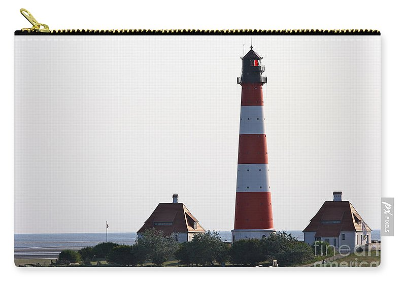 Lighthouse Carry-all Pouch featuring the photograph Westerhebersand Lighthouse - North Sea - Germany by Christiane Schulze Art And Photography