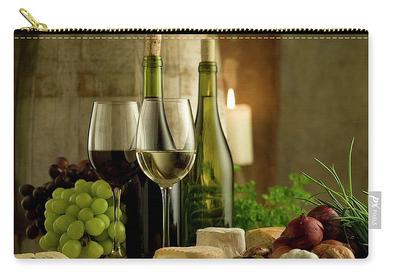 Cheese Carry-all Pouch featuring the photograph White And Red Wine In A French Style by Kontrast-fotodesign