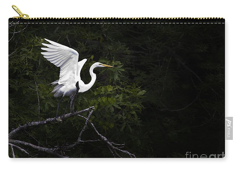 Bird Carry-all Pouch featuring the photograph White Egret's Takeoff by J L Woody Wooden