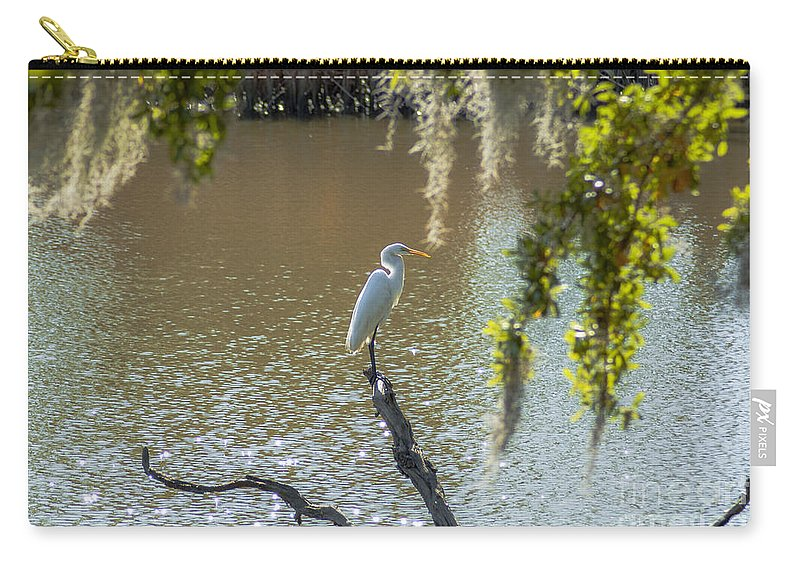 White Heron Carry-all Pouch featuring the photograph White Heron In Magnolia Cemetery by Dale Powell