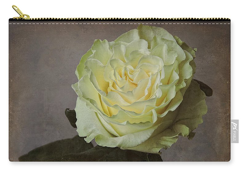 Flower Carry-all Pouch featuring the photograph White Rose With Old Paper Texture by Vesela Yokova