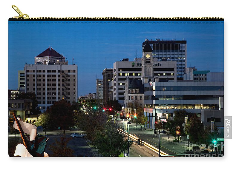Albert Paley Carry-all Pouch featuring the photograph Wichita Skyline At Dusk From Waterwalk by Bill Cobb