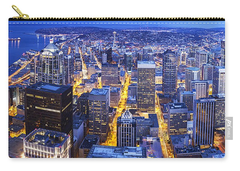Seattle Carry-all Pouch featuring the photograph Wide Seattle Cityscape by Mike Reid